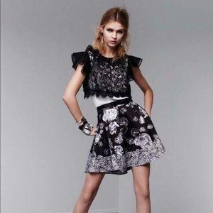 Prabal Gurung x Target Black/Grey Floral Skirt sz4